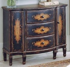 Console Cabinet Table French Country Style Coffee Distress Finish New Free SHIP | eBay