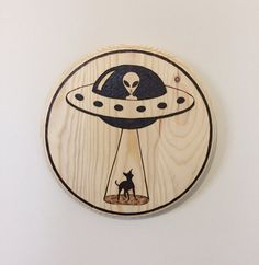 Alien spaceship chihuahua abduction pyrography by FiresongDesign