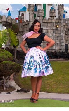 Pinup Couture - Jenny Skirt in Pink Castle Print | Pinup Girl Clothing #retro #pinup dress