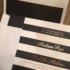 classic black and white stripes with copper foil Wedding Paper, Our Wedding, Dream Wedding, Madison Rose, Black And White Wedding Invitations, One Sweet Day, Striped Wedding, Invitation Paper, Invites