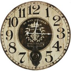 tatouage horloge ancienne horloge ancienne balancier love 58cm decoration. Black Bedroom Furniture Sets. Home Design Ideas