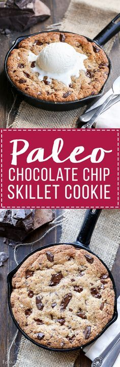 This Paleo Chocolate Chip Skillet Cookie is the ultimate gooey dessert! This gluten free and refined sugar free skillet cookie is a healthier alternative to the classic Pizookie. Use big chocolate chunks to make it extra chocolatey!