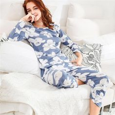 ad37a6a978 Dotfashion Florals Tee   Pants Pajama Set Multicolor Round Neck Women Suits  2018 New Spring Long