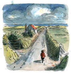 """The Long Road"" illustration from Pete the Wanderer by Edward Ardizzone."