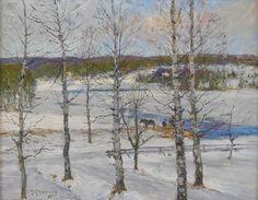 Anton Genberg (1862-1939): Norrländskt vinterlandskap med björkar, 1933