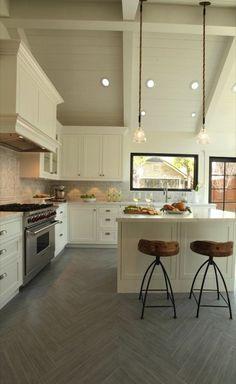 Suzie: Arch Interiors - Amazing kitchen design with vaulted ceiling, chevron herringbone ...