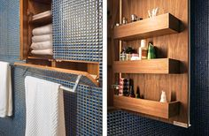 Bathroom cabinets built into walls and covered with the same tile for a clean look. The Transformer apartment from Studio Garneau has a lot of space-saving features.