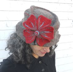 Ladies Felt Hat - Hand Felted  - Brown with Red and Turquoise  Flower - Merino Wool - Edwardian. $180.00, via Etsy.