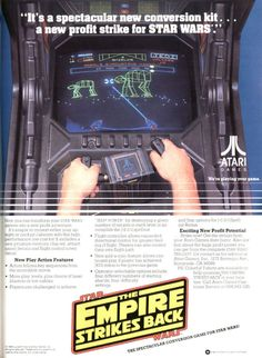 Star Wars: The Empire Strikes Back Arcade Game Flyer - - Atari Games - Vintage Video Games, Classic Video Games, Retro Video Games, Vintage Games, Retro Arcade Games, Flipper, Nintendo, Video Game Posters, Old School Toys