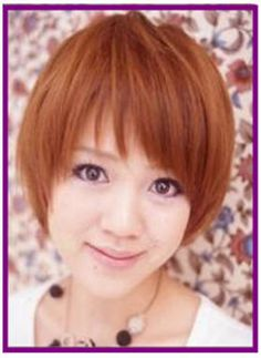 no-parting hair: Cute short hair cut with slanting bangs and no parting hair. This is a casual hairstyle for young girls.