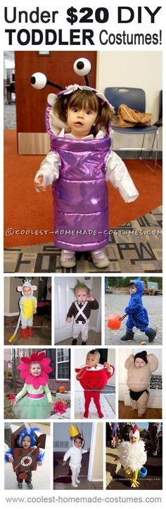 Toddler Halloween Costumes that Cost Under $20 to Make! Lots of Homemade Costumes. Repin for later...