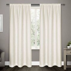 Matlisse Vine Patterned Jacquard Rod Pocket Window Curtain Panels, Set of 2, White