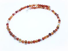Carnelian beads and silver tubes necklace . by Shlomzion on Etsy