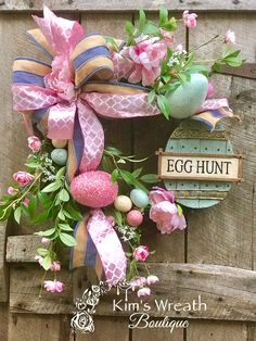 Excited to share this item from my shop: Easter Wreath, Easter Egg Wreath, Easter Deocr, Easter Gift, Easter Egg … Easter Gift, Easter Crafts, Easter Decor, Easter Ideas, Egg Decorating, Easter Wreaths, Spring Wreaths, Shops, Easter Eggs