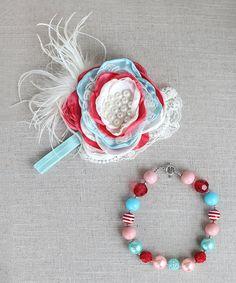 Love this Red & Aqua Flower Headband & Necklace by Zuzu Petals on #zulily! #zulilyfinds