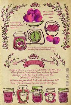 Plum Jam Recipe vintage scales fruit jam jars decorative. They Draw and Cook Ohn Mar Win