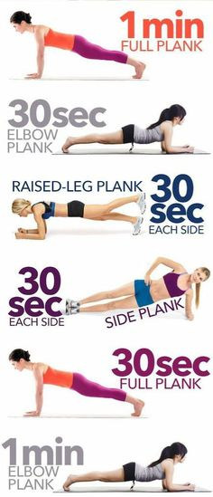 Plank exercices for a flat belly