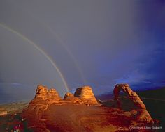 Delicate Arch with Rainbow, Arches National Park, Utah Delicate Arch, Natural Wonders, Arches, Amazing Places, Monument Valley, Utah, The Good Place, National Parks, Landscapes