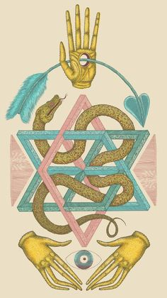 Sacred Geometry. Hands, arrows, snakes.