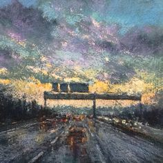"""""""Dusk Drive"""" Pastel painting by Aidan Butler"""