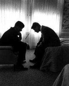 John F. Kennedy and Robert F. Kennedy Los Angeles 1960. By Hank Walker.