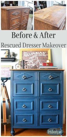 before and after boho blue rescued dresser makeover handsome blue diy painted furniture
