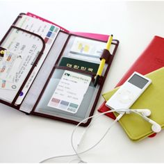 Wanna Be a Traveler Passport Wallet for $40 - one pocket big enough for money and a map, a left side pocket for plane tickets, and a right side pocket for your passport, pen holder, and two pockets for an ID and other cards. Ahhhhhh I need this.