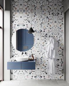 Beautiful Terrazzo tile for this sleek bathroom design. 😍😍 Design from 👌 Dream Bathrooms, Beautiful Bathrooms, Modern Bathroom, Small Bathrooms, Master Bathrooms, Navy Bathroom, Minimal Bathroom, Marble Bathrooms, Boho Bathroom