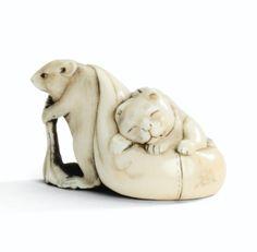Netsuke d'un rat et d'un chat en ivoire <br>par Dosho, Japon, XVIII<sup>E</sup> siècle | Lot | Sotheby's