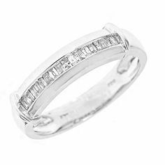 1/4 Carat T.W. Baguette Cut Diamond Men's Wedding Ring 14K White Gold - Free Gift Box