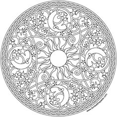 Celestial Mandala 2016 - Celestial mandala to print and color- available in jpg and transparent png formats -