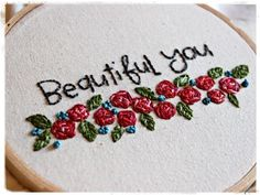 by Stephanie Ackerman - stamped onto muslin with an acrylic stamp and then embroidered. Love!
