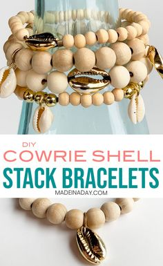Looking for a trendy jewelry idea to make at home? My DIY Cowrie Shell Stack Bracelets are on trend this season. Shell Bracelet, Shell Jewelry, Beaded Jewelry, Beaded Bracelets, Hippie Jewelry, Wood Bracelet, Yoga Jewelry, Tribal Jewelry, Bohemian Bracelets