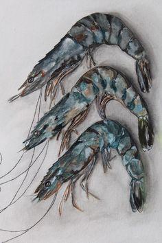 Fresh Gulf Shrimp Original Painting Gouache Painting, Watercolor Paintings, Original Paintings, Crab Painting, Watercolours, Original Artwork, Crab Art, Fish Art, Louisiana Art