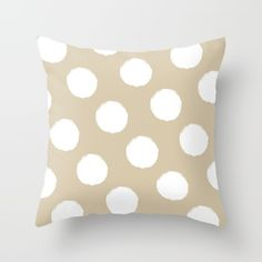 Polka Dots (Beige & White) Throw Pillow by vivogrande White Throw Pillows, Coastal Style, The Hamptons, Polka Dots, Cushions, Beige, Summer, Throw Pillows, Toss Pillows