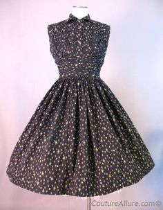 Vintage 50s Full Skirt Dress Cotton Floral Small bust 35 $145 at Couture Allure Vintage Clothing