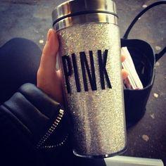vs love pink gold glitter thermal mug