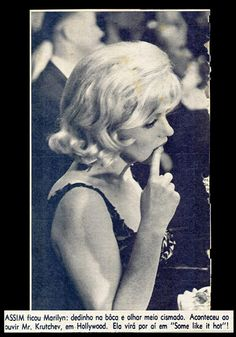 Marilyn at a banquet held for Nikita Khrushchev at 20th Century Fox, September 19, 1959 (from a magazine article from Brazil)