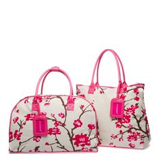 Cherry blossom-print canvas and faux-patent leather overnight bag and matching tote
