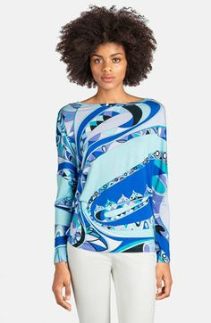 Emilio Pucci 'Tragara Print' Stretch Jersey Top available at #Nordstrom