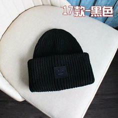 ef3f67a303f805 NEW Acne Studios wool knit hat winter warm hat smile hat cap black #fashion  #