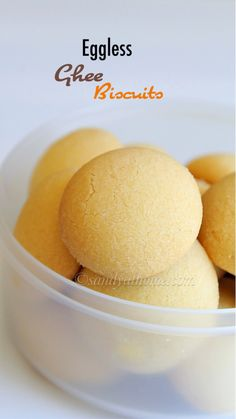Eggless Ghee biscuits/ Ghee cookies are delicious and melt in mouth cookies/ biscuits that are super easy to make because it is made with just 3 INGREDIENTS Eggless Cookie Recipes, Eggless Desserts, Eggless Baking, Tea Recipes, Baking Recipes, Sweet Recipes, Snack Recipes, Rice Flour Recipes, Cake Recipes