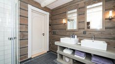 Log Home Interiors, Old Wood, Log Homes, Neutral Colors, Double Vanity, Sweet Home, Cabin, Rustic, Cottages