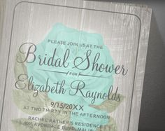 Turquoise Rustic Floral Flower Bridal Shower Invitation