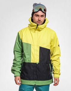 686 Authentic Prime Snowboarding/ Ski Jacket CELERY Color-block 2015-10K Mens L #686