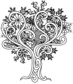 Coloring Page World: Snow Baroque Tree