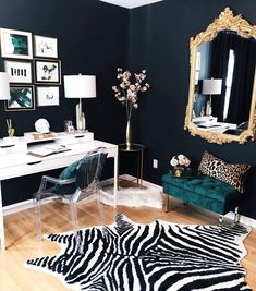 My luxe glam office makeover. I painted the walls black and added green, gold an. - My luxe glam office makeover. I painted the walls black and added green, gold and patterned details - Home Office Space, Home Office Design, Home Office Furniture, Home Office Decor, Home Interior Design, House Design, Office Ideas, Color Interior, Office Setup