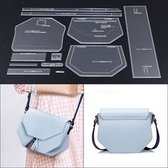 Leather Clear Acrylic Stencil Template Crossbody Bag Pattern Craft Tool - Home stuff Leather Diy Crafts, Leather Craft Tools, Leather Projects, Leather Gifts, Handmade Leather, Leather Bags, Leather Crossbody Bag, Leather Bag Tutorial, Leather Wallet Pattern