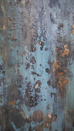 Turquoise and Gold Leaf Texture This is an original textured Amy Neal abstract painting on gallery-wrapped 18 x 24 x .75 canvas. Pale, smokey turquoise with layers of light and dark gray, white, and gold leaf. Distressed rustic patina. Sealed with protective gloss varnish. Signed