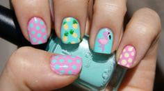 Flamingo and Pineapple mani with dots. An 'ode to summer' mani. :D - Imgur